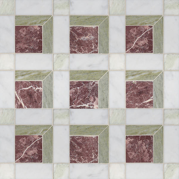 Paseo, a handmade mosaic shown in honed Chinese Purple, Verde Luna, Alba Chiara and Carrara, is part of the Illusions® collection by Sara Baldwin and Paul Schatz for New Ravenna.