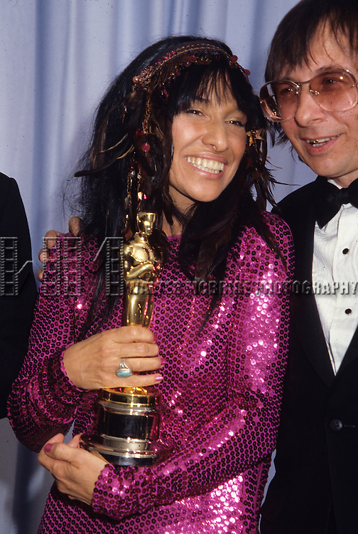 Buffy St. Marie and Jack Nitzsche pictured at the Academy Awards in April of 1983,