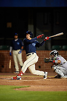 Mobile BayBears Jahmai Jones (15) hits a home run during a Southern League game against the Jacksonville Jumbo Shrimp on May 7, 2019 at Hank Aaron Stadium in Mobile, Alabama.  Mobile defeated Jacksonville 2-0.  (Mike Janes/Four Seam Images)