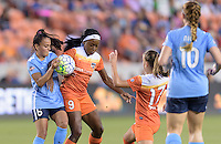 Houston, TX - Friday April 29, 2016: Chioma Ubogagu (9) of the Houston Dash and Taylor Lytle (6) of Sky Blue FCduring a National Women's Soccer League (NWSL) match at BBVA Compass Stadium.