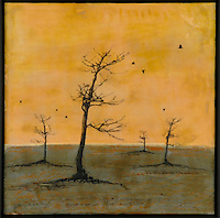 Bare trees in golden sky mixed media encaustic photo transfer by Jeff League.