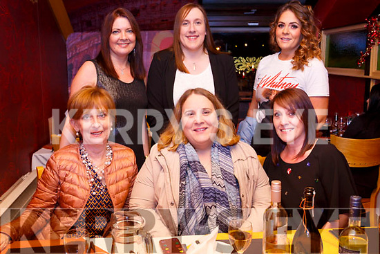 Dee Lyons  seated front centre enjoying her birthday celebrations and the Womens Little Christmas in the Bella Bia Restaurant on Saturday night. Front l-r, Kay Lyons, Dee Lyons (Birthday girl) and Triona Lyons. Back l-r, Bridget McBride, Dawn Mitchell and Orla Dooly.