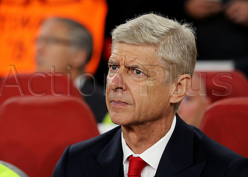 28.09.2016. Emirates Stadium, London, England. UEFA Champions League Football. Arsenal versus FC Basel. Arsenal Manager Arsène Wenger prepares for kick off