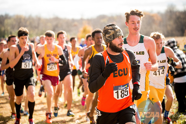 21 NOV 2015:  Cole Montgomery (185) of East Central University during the Division II Men's Cross Country Championship held at the Missouri Southern Cross Country Course in Joplin, MO. Shane Bevel/NCAA Photos