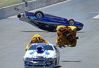 Jul, 22, 2012; Morrison, CO, USA: NHRA pro stock driver Paul Pittman crashes after losing to Allen Johnson during the Mile High Nationals at Bandimere Speedway. Pittman would be uninjured in the incident. Mandatory Credit: Mark J. Rebilas-