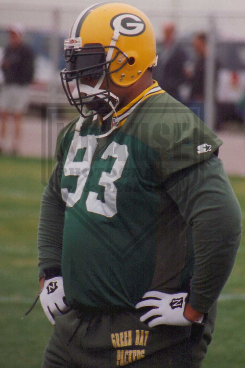 GREEN BAY - April 1997: Gilbert Brown (93) of the Green Bay Packers during a Training Camp practice in April, 1997 in Green Bay, Wisconsin. (Photo by Brad Krause)