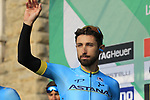 Dario Cataldo (ITA) Astana Pro Team at sign on before the start of the 112th edition of Il Lombardia 2018, the final monument of the season running 241km from Bergamo to Como, Lombardy, Italy. 13th October 2018.<br /> Picture: Eoin Clarke | Cyclefile<br /> <br /> <br /> All photos usage must carry mandatory copyright credit (© Cyclefile | Eoin Clarke)