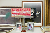 A replica of billboards put up between Boston and Philadelphia in 2013 stands on a shelf in the office of Anthony Amore, the Directory of Security and Chief Investigator at the Isabella Stewart Gardner Museum in Boston, Mass., USA, seen here on Tues., Dec. 5, 2017.  Part of Amore's ongoing work is the investigation into the 1990 theft of 13 pieces from the museum: 10 paintings, 2 objects, and 1 etching. Among the paintings stolen were works by Rembrandt, Vermeer, Degas, and Manet. At the time the billboards were shown, the reward for information about the stolen artwork was $5 million. In 2017, the reward was doubled to $10 million.