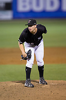 Kannapolis Intimidators relief pitcher Alex Katz (20) looks to his catcher for the sign against the Lakewood BlueClaws at Kannapolis Intimidators Stadium on April 6, 2017 in Kannapolis, North Carolina.  The BlueClaws defeated the Intimidators 7-5.  (Brian Westerholt/Four Seam Images)