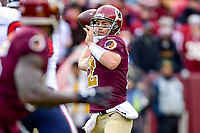 Landover, MD - November 18, 2018: Washington Redskins quarterback Colt McCoy (12) throws the football during second half action of game between the Houston Texans and the Washington Redskins at FedEx Field in Landover, MD. The Texans defeated the Redskins 23-21. (Photo by Phillip Peters/Media Images International)