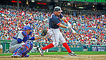 3 September 2012: Washington Nationals third baseman Ryan Zimmerman in action against the Chicago Cubs at Nationals Park in Washington, DC. The Nationals edged out the visiting Cubs 2-1, in the first game of heir 4-game series. Mandatory Credit: Ed Wolfstein Photo