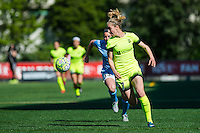 Seattle, WA - Sunday, April 17, 2016: Seattle Reign FC forward Beverly Yanez (17) drives towards the goal. Sky Blue FC defeated the Seattle Reign FC 2-1 during a National Women's Soccer League (NWSL) match at Memorial Stadium.