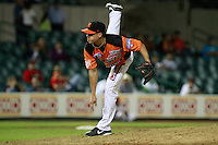 Jason Urquidez ,picher relevo de naranjeros  , durante el juego a beisbol de Naranjeros vs Cañeros durante la primera serie de la Liga Mexicana del Pacifico.<br /> 15 octubre 2013