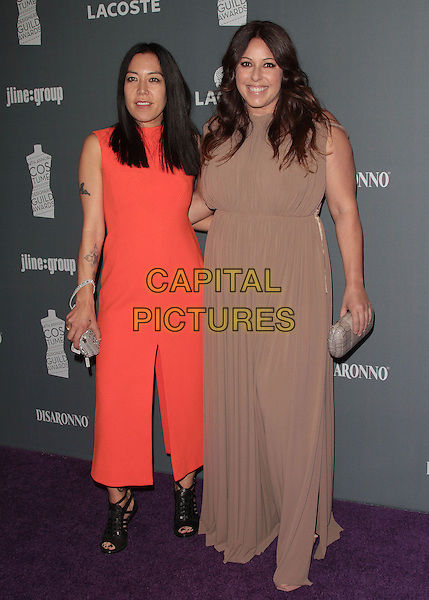 Christine Wada, Leesa Evans.The 14th Annual Costume Designers Guild Awards held at the Beverly Hilton Hotel, Beverly Hills, California, USA..February 21st, 2012 .full length pink beige dress sleeveless .CAP/ADM/SLP/JO.©JO/SLP/AdMedia/Capital Pictures