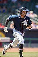 Northwest Arkansas Naturals infielder Emmanuel Rivera (26) runs for first base on May 19, 2019, at Arvest Ballpark in Springdale, Arkansas. (Jason Ivester/Four Seam Images)