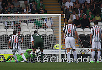 Ben Williams saves a Paul McGowan penalty in the St Mirren v Hibernian Clydesdale Bank Scottish Premier League match played at St Mirren Park, Paisley on 18.8.12.