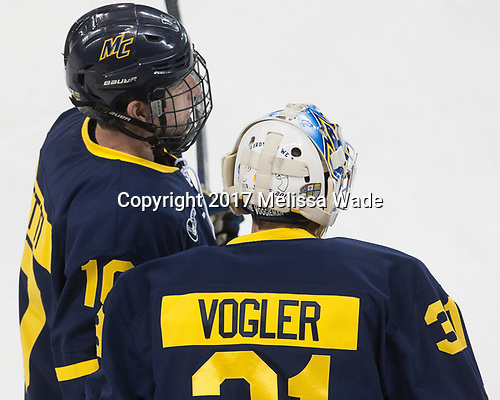 Derek Petti (Merrimack - 10), Drew Vogler (Merrimack - 31) - The visiting Merrimack College Warriors defeated the Boston College Eagles 6 - 3 (EN) on Friday, February 10, 2017, at Kelley Rink in Conte Forum in Chestnut Hill, Massachusetts.