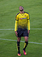 Etienne Capoue of Watford shows his frustration during the Pre Season Friendly match between Woking and Watford at the Kingfield Stadium, Woking, England on 10 July 2016. Photo by Andy Rowland.