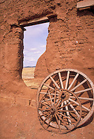 ruins, wagon wheels and grounds of Fort Union National Monument on the Santa Fe Trail in New Mexico. NM, Santa Fe Trail.