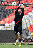MEXICO CITY, MEXICO - AUGUST 15, 2012:  Nick Rimando of the USA MNT punches away a shot during practice before an international friendly match against Mexico at Azteca Stadium, in Mexico City, Mexico on August 15.