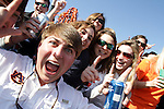 01/10/11--Auburn fans cheer for the camera before the BCS National Championship..Photo by Jaime Valdez......