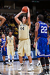 Dinos Mitoglou (44) of the Wake Forest Demon Deacons attempts a free throw during first half action against the UNC Asheville Bulldogs at the LJVM Coliseum on November 14, 2014 in Winston-Salem, North Carolina.  The Demon Deacons defeated the Bulldogs 80-69  (Brian Westerholt/Sports On Film)