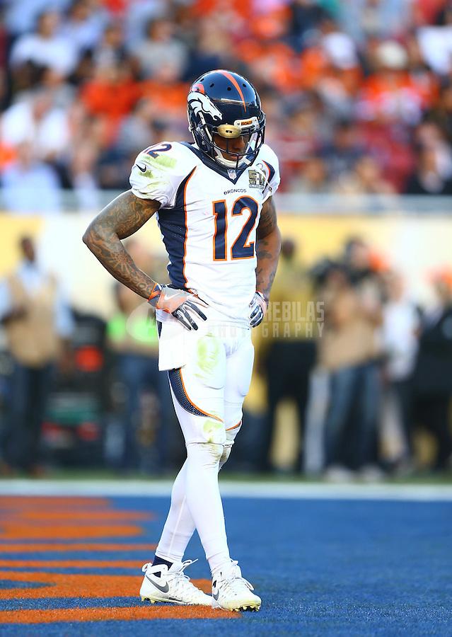 Feb 7, 2016; Santa Clara, CA, USA; Denver Broncos wide receiver Andre Caldwell (12) against the Carolina Panthers in Super Bowl 50 at Levi's Stadium. Mandatory Credit: Mark J. Rebilas-USA TODAY Sports