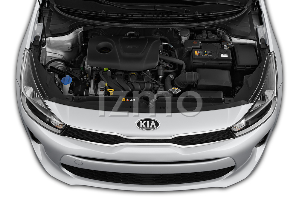 Car stock 2019 KIA Rio S 4 Door Sedan engine high angle detail view