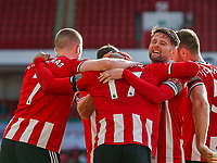 Sheffield United's David McGoldrick celebrates scoring his side's third goal  with teammates<br /> <br /> Photographer Alex Dodd/CameraSport<br /> <br /> The Premier League - Sheffield United v Chelsea - Saturday 11th July 2020 - Bramall Lane - Sheffield<br /> <br /> World Copyright © 2020 CameraSport. All rights reserved. 43 Linden Ave. Countesthorpe. Leicester. England. LE8 5PG - Tel: +44 (0) 116 277 4147 - admin@camerasport.com - www.camerasport.com