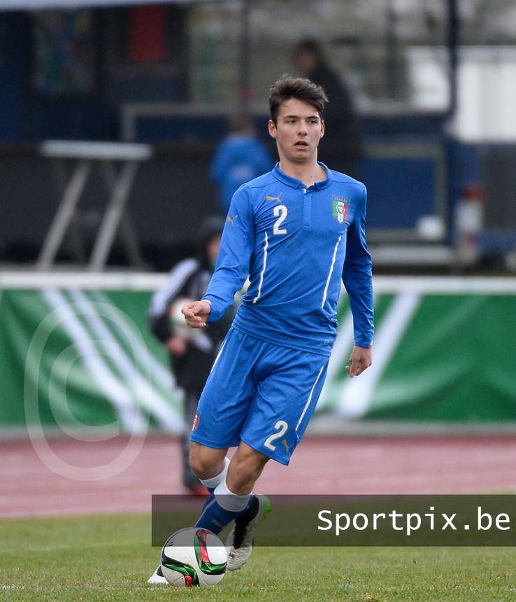 20150321 - Wetzlar , GERMANY  : Italian Giuseppe Scalera pictured during the soccer match between Under 17 teams of Italy and Ukraine , on the first matchday in group 8 of the UEFA Elite Round Under 17 at Stadion Wetzlar , Wetzlar Germany . saturday 21 th March 2015 . PHOTO DAVID CATRY
