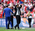 Chelsea Manager Antonio Conte applauds the Chelsea fans at the end of the FA cup semi-final match at Wembley Stadium, London. Picture date 22nd April, 2018. Picture credit should read: Robin Parker/Sportimage