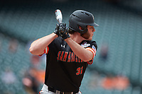 Cross Austin (32) of the Sam Houston State Bearkats at bat against the Kentucky Wildcats during game four of the 2018 Shriners Hospitals for Children College Classic at Minute Maid Park on March 3, 2018 in Houston, Texas. The Wildcats defeated the Bearkats 7-2.  (Brian Westerholt/Four Seam Images)
