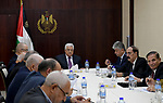Palestinian President Mahmoud Abbas chairs a meeting of Executive Committee of the Palestine Liberation Organization, in the West Bank city of Ramallah on October 16, 2017. Photo by Osama Falah