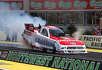 Aug. 2, 2014; Kent, WA, USA; NHRA funny car driver Bob Tasca III during qualifying for the Northwest Nationals at Pacific Raceways. Mandatory Credit: Mark J. Rebilas-