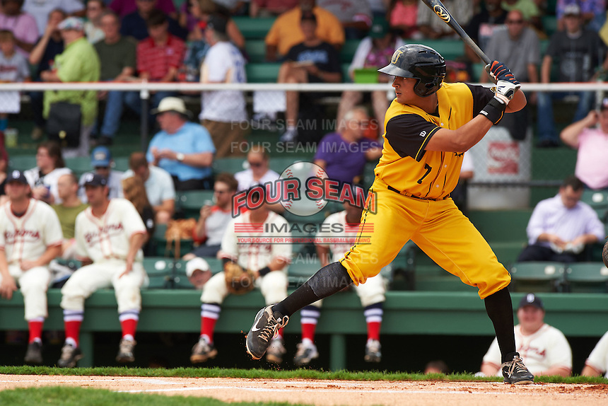 Jacksonville Suns outfielder Carlos Lopez (7) at bat during the 20th Annual Rickwood Classic Game against the Birmingham Barons on May 27, 2015 at Rickwood Field in Birmingham, Alabama.  Jacksonville defeated Birmingham by the score of 8-2 at the countries oldest ballpark, Rickwood opened in 1910 and has been most notably the home of the Birmingham Barons of the Southern League and Birmingham Black Barons of the Negro League.  (Mike Janes/Four Seam Images)