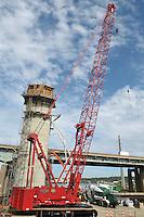 Pearl Harbor Memorial Bridge, New Haven Harbor Crossing Corridor. CT DOT Contract B Project No. 92-532. New Pearl Harbor Memorial Bridge. Commonly refered to as the Q Bridge. New Pylon Supports. Activity: Concrete Pours and Form Construction.