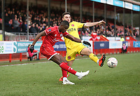 Crawley Town's Beryly Lubala and Fleetwood Town's Lewis Coyle<br /> <br /> Photographer Rob Newell/CameraSport<br /> <br /> Emirates FA Cup Second Round - Crawley Town v Fleetwood Town - Sunday 1st December 2019 - Broadfield Stadium - Crawley<br />  <br /> World Copyright © 2019 CameraSport. All rights reserved. 43 Linden Ave. Countesthorpe. Leicester. England. LE8 5PG - Tel: +44 (0) 116 277 4147 - admin@camerasport.com - www.camerasport.com