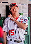 23 August 2018: Washington Nationals outfielder Andrew Stevenson stands in the dugout during a game against the Philadelphia Phillies at Nationals Park in Washington, DC. The Phillies shut out the Nationals 2-0 to take the 3rd game of their 3-game mid-week divisional series. Mandatory Credit: Ed Wolfstein Photo *** RAW (NEF) Image File Available ***