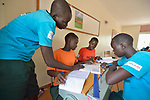 Students discuss and assignment at the Loreto Girls Secondary School in Rumbek, South Sudan. The school is run by the Institute for the Blessed Virgin Mary--the Loreto Sisters--of Ireland.