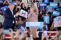 Hillary Clinton waves with Al Gore at Miami Rally, October 11, 2016