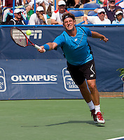 David Nalbandian returns a serve during the Legg Mason Tennis Classic at the William H.G. FitzGerald Tennis Center in Washington, DC.  David Nalbandian defeated Marcos Baghdatis in straight sets in the finals Sunday afternoon.
