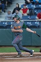 Jesse Hodges #19 of the Boise Hawks bats against the Everett AquaSox at Everett Memorial Stadium on July 25, 2014 in Everett, Washington. Everett defeated Boise, 2-1. (Larry Goren/Four Seam Images)