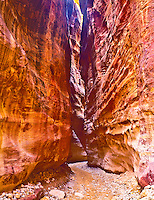 "Slot Canyon in Morning Light, Called the ""Siq"", Ancient Nabataean City Site, Petra National Park, Jordan"