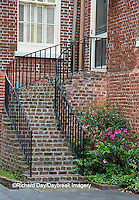 66512-00202 Iron staircase and azaleas on old brick building, Charleston, SC