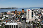 Downtown Anchorage, Alaska with the Marriott Hotel (white) and the Captain Cook further back. Viewed to north. Knik Arm of Cook Inlet (water) beyond.