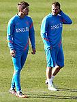 Nederland, Katwijk, 11 oktober  2012.Seizoen 2012-2013.Nederlandselftal.Training van Oranje.Klaas Jan Huntelaar en Rafael van der Vaart
