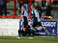 Garry Thompson of Wycombe Wanderers scores and reels away to celebrate 1-1<br /> during the Sky Bet League 2 match between Accrington Stanley and Wycombe Wanderers at the Wham Stadium, Accrington, England on 16 March 2016. Photo by Tony (KIPAX) Greenwood / PRiME Media Images.