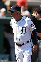 Detroit Tigers Jim Leyland #10 during a exhibition game vs. the Florida Southern Mocs at Joker Marchant Stadium in Lakeland, Florida;  February 25, 2011.  Detroit defeated Florida Southern 17-5.  Photo By Mike Janes/Four Seam Images