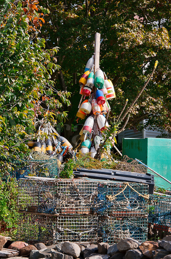 Lobster buoys, Kittery, Maine, ME, USA
