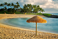 Beach and umbrellas. Ko Olina, Oahu, Hawaii